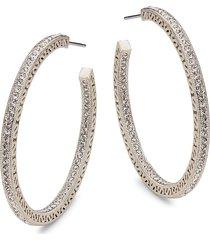 adriana orsini women's white rhodium-plated & crystal c-hoop earrings