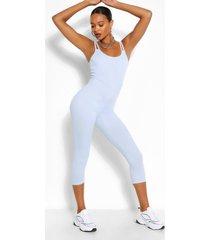 double strap cami skinny leg jumpsuit, dusty blue