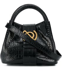 zanellato crocodile-effect small tote bag with gold hardware - black