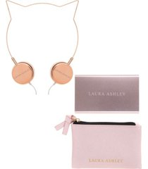 sarina accessories laura ashley tech accessory set- headphones, powerbank, carrying case