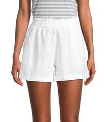 saks fifth avenue women's smocked-waist linen shorts - chambray - size m
