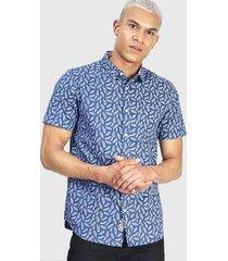 camisa brave soul mc azul - calce regular