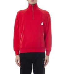 diesel red cotton jersey sweatshirt