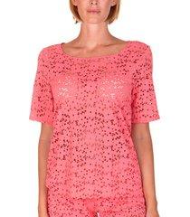 blouse lisca strandtop florida koraal met korte mouwen