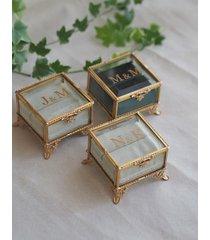 szklana szkatułka na obrączki-złota retro
