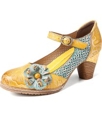 socofy floreale in pelle fibbia cinturino alla caviglia tacco grosso décolleté mary jane dress shoes