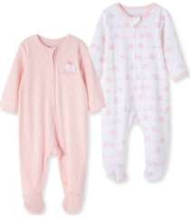 baby girls 100% organic cotton elephant 2 pack footie
