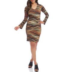 women's karen kane long sleeve print body-con dress