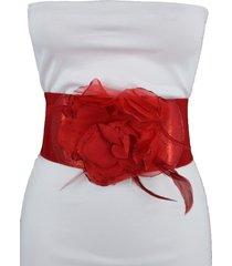 women belt hip high waist red elastic glitter waistband fashion bling flower s m