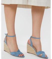 amaro feminino sandália anabela cruzada, azul