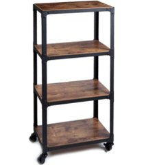 mind reader 4 tier all purpose utility cart, wood/metal, brown