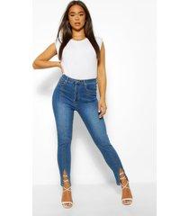 skinny jeans met naaddetail, middenblauw