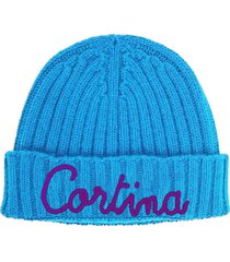 turquoise blended cashmere woman cap cortina embroidery
