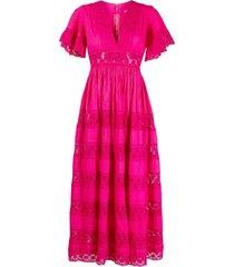 a.n.g.e.l.o. vintage cult 1970s crochet detailing empire line dress -