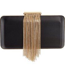 black and gold-tone chain minaudiere clutch