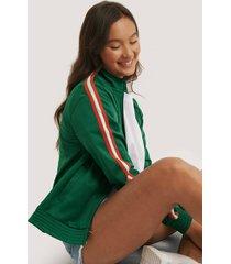na-kd tröja med dragkedja på ärmarna - green