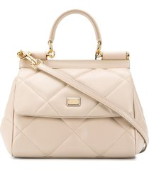 dolce & gabbana diamond-quilt sicily tote bag - neutrals