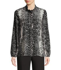 kobi halperin women's regina printed silk blouse - black pumice - size xs