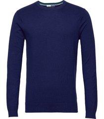 ams blauw cotton cashmere crew neck pull gebreide trui met ronde kraag blauw scotch & soda