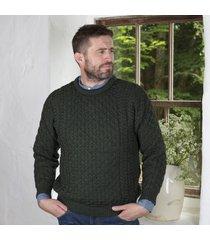 men's 100% soft merino wool moss green merino crew neck sweater large