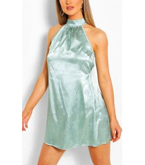 floral jacquard satin sleeveless swing dress, sage