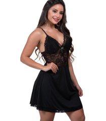 camisola sensual ms fashion em microfibra lisa com detalhes em renda preta