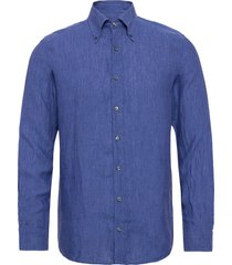 harry 3 slim shirt wash overhemd casual blauw oscar jacobson