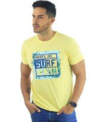 camiseta hombre manga corta slim fit amarillo marfil surf