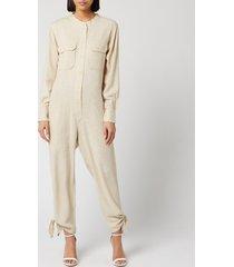 isabel marant women's tacaia silk bourette overalls - ecru - fr 36/uk 8
