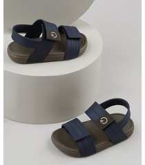 sandália papete infantil cartago com velcro azul marinho