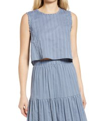 women's dra skylar stripe cotton blend sleeveless blouse, size large - blue