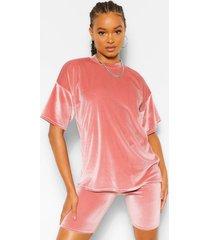 velvet oversized t-shirt en fietsbroekje set, mauve