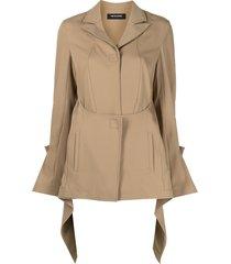 kiko kostadinov open-back draped jacket - brown