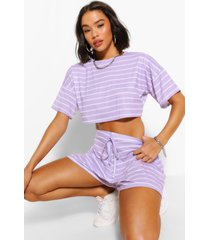 pastel stripe t-shirt & flippy shorts co-ord, lilac