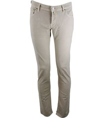 jacob cohen 5-pocket stretch corduroy trousers with closure buttons and pony skin with logo