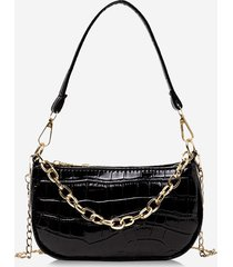 chain textured solid shoulder bag