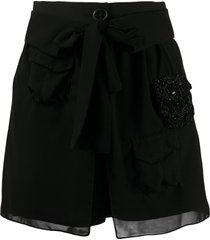 almaz embellished silk shorts - black