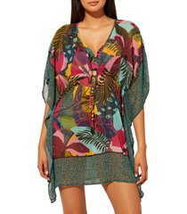 women's bleu by rod beattie jungle book chiffon cover-up caftan, size large - pink