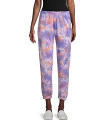 spiritual gangster women's tie-dyed pants - purple multi - size xs