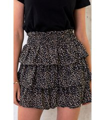 laagjes print rok zwart