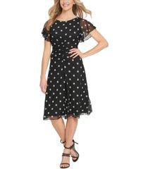 dkny flutter-sleeve ruched dress