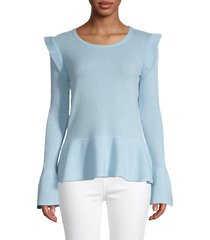 qi cashmere women's ruffle-trim cashmere peplum sweater - rosewater - size l
