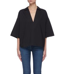 """""""channing' v-neck spread collar cotton top"""