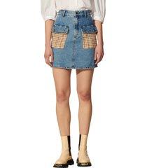 women's sandro tweed pocket denim skirt, size 2 - blue