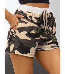 shorts de cintura con cordón de camuflaje verde militar de yoins
