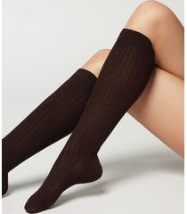calzedonia women's ribbed long socks with cashmere woman brown size 36-38