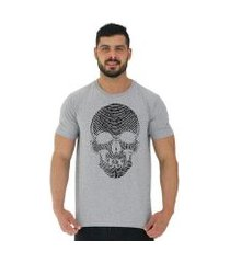 camiseta tradicional manga curta mxd conceito caveira digital masculina