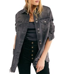free people moonchild denim shirt jacket, size large in moon dust at nordstrom