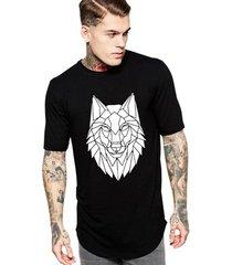 camiseta criativa urbana long line oversized lobo tribal