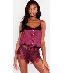 womens we need some lace satin short pajama set - maroon